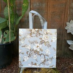 CUTE ! Reusable Grocery Bag Floral Magnolia Gray Flowers Sho