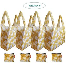 Cute X-Large Reusable Foldable Grocery Shopping Bags Zippere