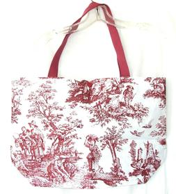 ECO-FRIENDLY BURGUNDY AND WHITE TOILE REUSABLE WASHABLE TOTE