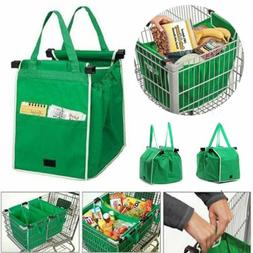 Foldable Shopping Bags Reusable Eco Grocery Grab Clip-To-Car