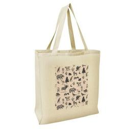Forest Animals Pattern Moose Bear Wolf Grocery Travel Reusab