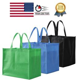 FREE SHIP 12 Pack Large Foldable Reusable Grocery Tote Bags