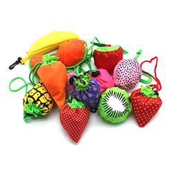 YUYIKES 10PCS Fruits Reusable Grocery Shopping Tote Bags Fol