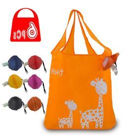 KiwiPi Giraffe Reusable Foldable Grocery Shopping Gift Bag,S