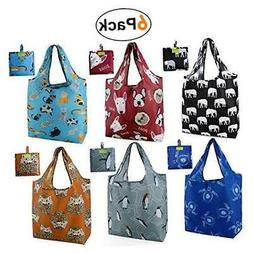 Grocery Bags Reusable Foldable 6 Pack Shopping Bags Large 50