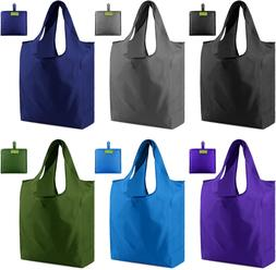 Grocery Bags Reusable Shopping Totes Foldable 6 Pack Ripstop