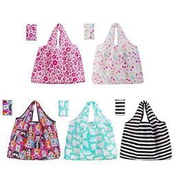 Grocery Shopping Bags 5 Pack Reusable Washable Grocery Bags