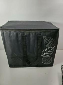 Insulated Reusable Grocery Bag Blk Ex-Large 2PK Zipper Washa