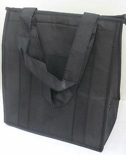 insulated reusable grocery bag solid black thermal