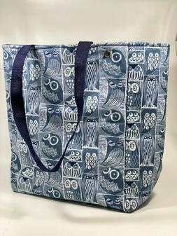 Insulated Reusable Grocery Bag, Tote with Snaps. Blue Owl Pr