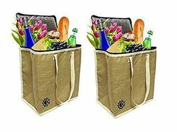 Earthwise Large Jute Insulated Shopping Grocery Bags w ZIPPE
