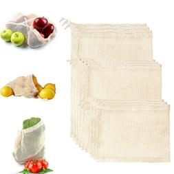 Kitchen Reusable Cotton Mesh Produce Grocery Fruit Storage S