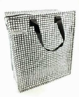 IKEA Knalla Zip Shopping Bag Black White Groceries Tote Reus