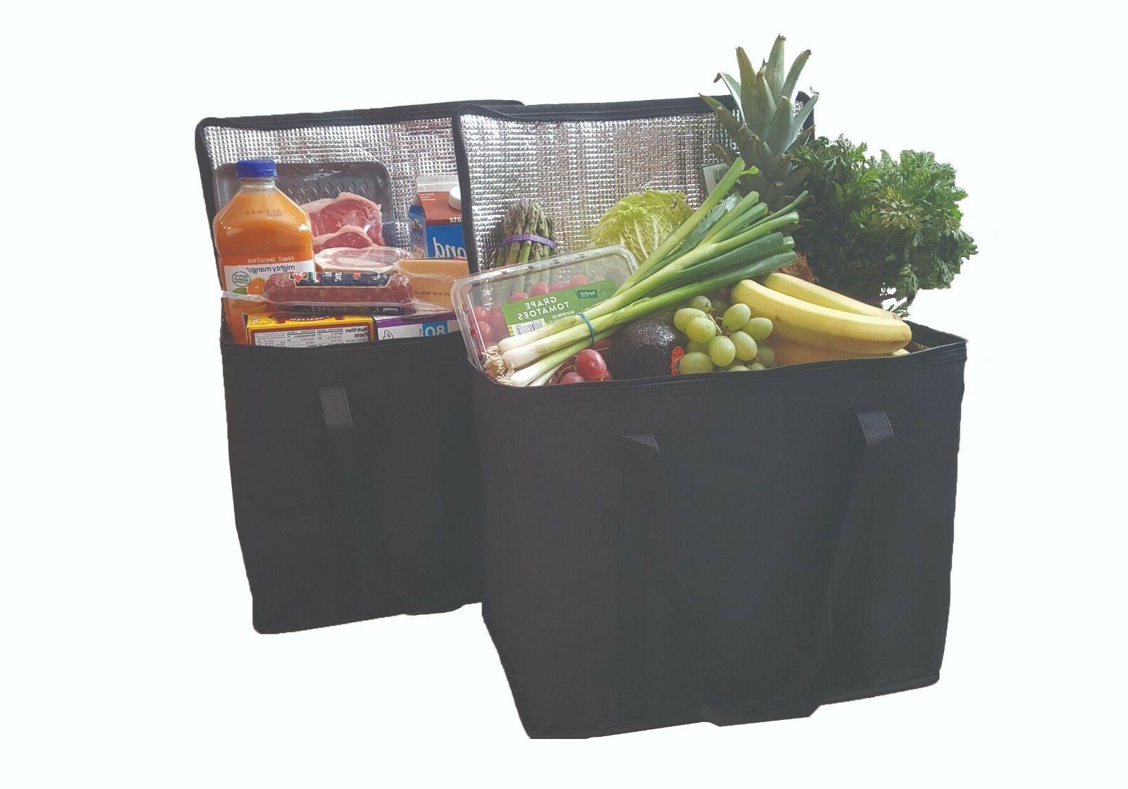 2 pack insulated reusable grocery bags extra