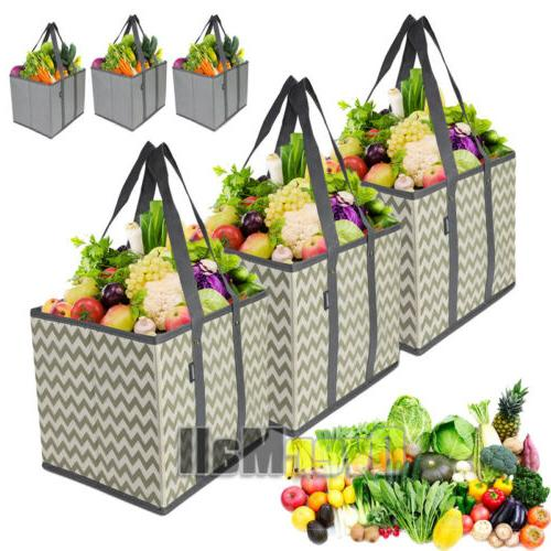 3 pack reusable grocery bags shopping box
