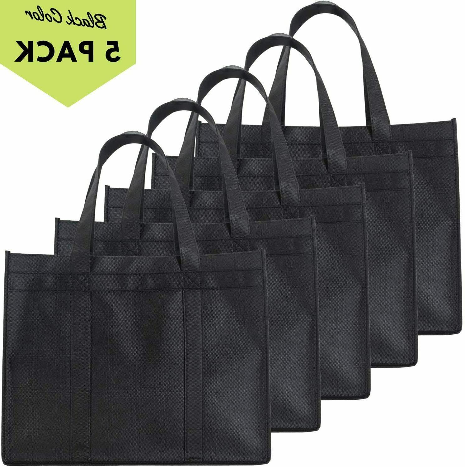 5 Reusable Grocery Bags,Heavy Shopping Tote,Foldable,Washable