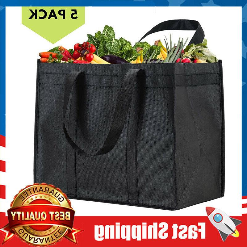 5 pack xl reusable grocery bags heavy