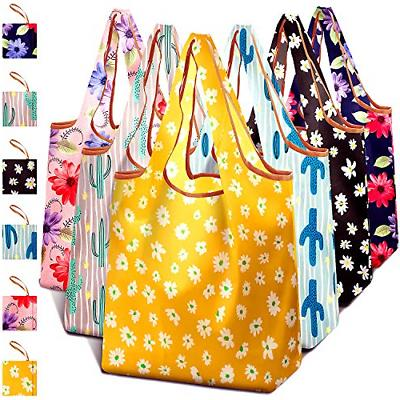 6 Pack Cactus Reusable Grocery Shopping Fabric Bags Packable