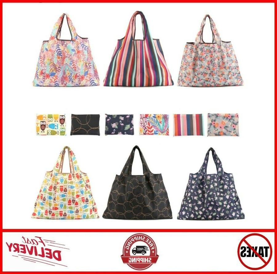 6 pack reusable grocery bags large foldable