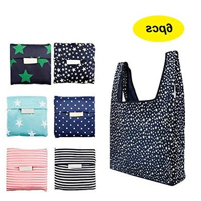 6 pack reusable shopping grocery bags foldable