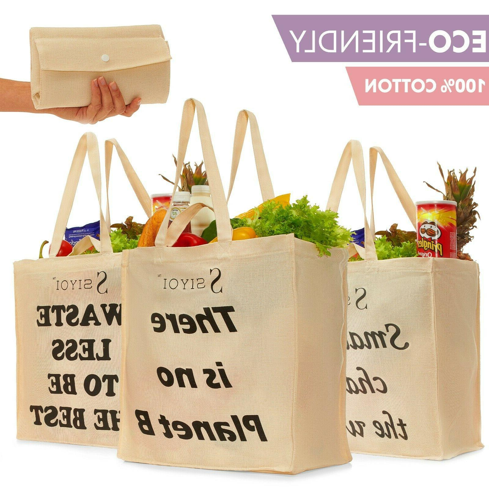 Canvas Grocery Bags, Reusable Shopping Bags Washable Shoppin