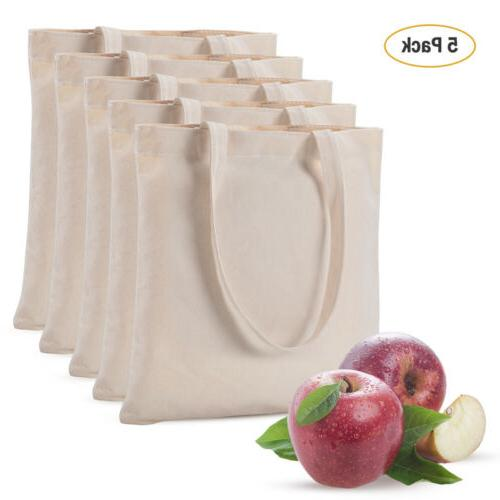 5 pack 100 percent cotton canvas reusable