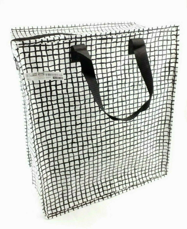 knalla zip shopping bag black white groceries