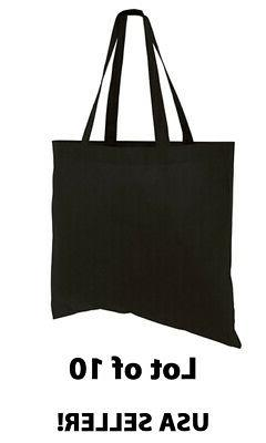 Lot 10 Large Tote Bag Reusable Black Shopping Grocery Travel