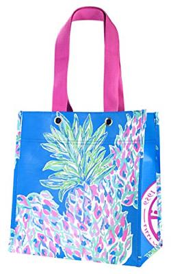 Lilly Pulitzer Blue Market Shopper Bag, Reusable Grocery Tot