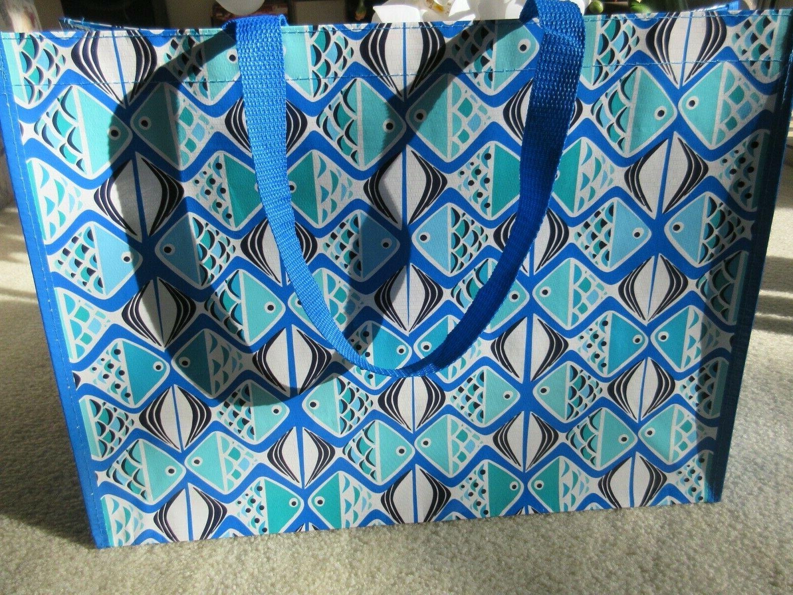 market tote reusable bag go fish blue