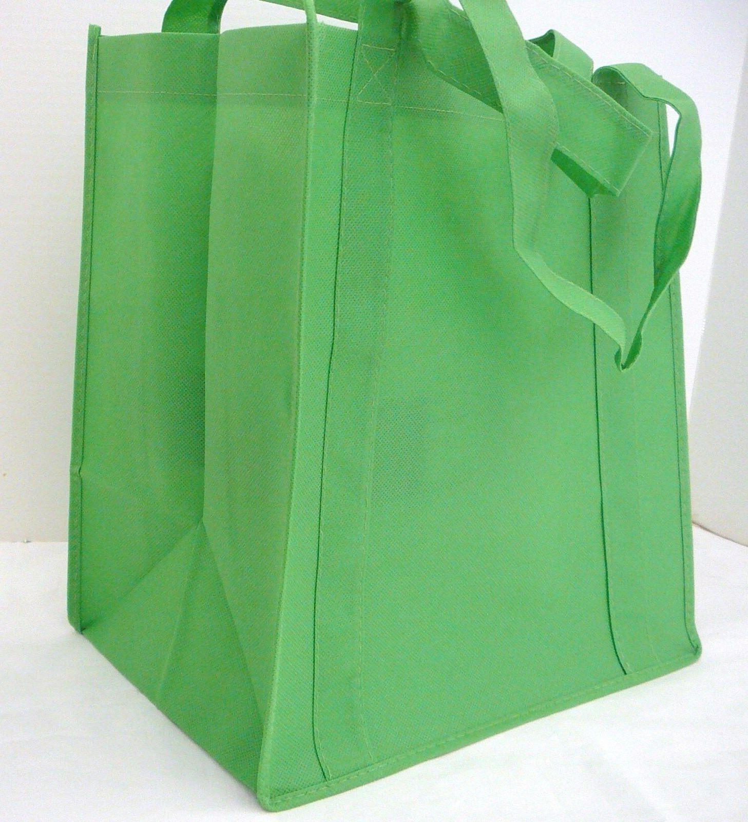 medium size reusable grocery bag lime green