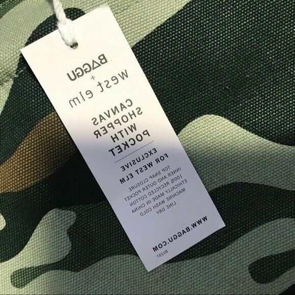NEW WEST BAGGU Canvas Shopping Book Tote Market Camo