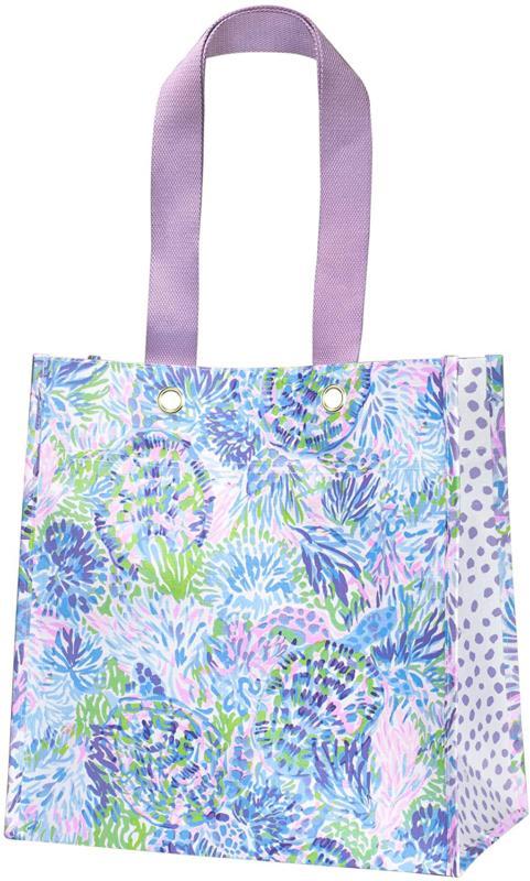 Lilly Pulitzer Purple/Blue/Green Market Shopper Bag, Reusabl