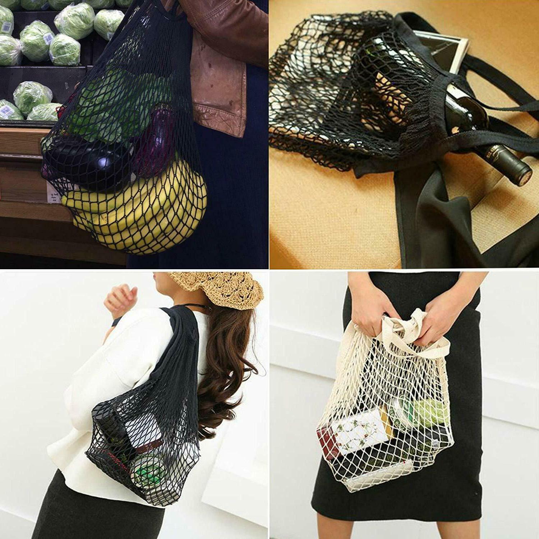 Reusable Grocery Net Mesh 4 Pack Tote Bag
