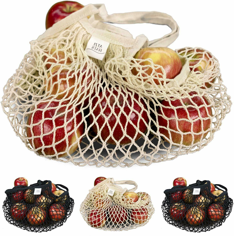 reusable grocery bags cotton net mesh eco