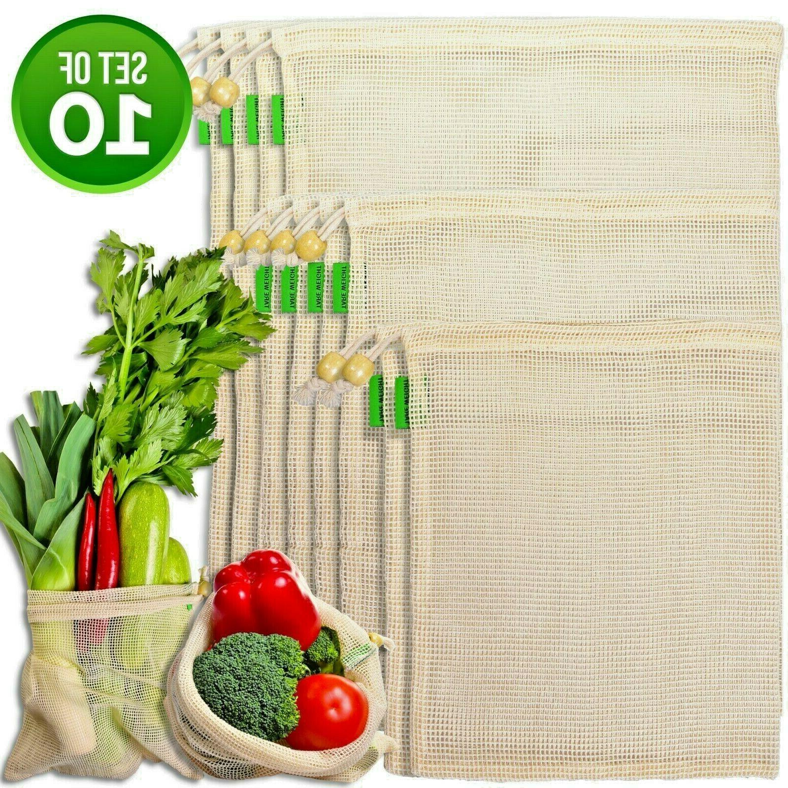 reusable produce cotton bags grocery mesh bags