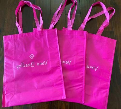 set of 3 pink shopping bag tote