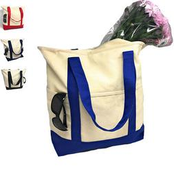 """Large 20"""" Cotton Canvas Natural Reusable Grocery Shopping To"""