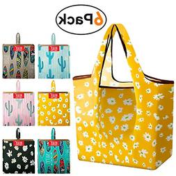 Large Grocery-Bags-Shopping-Reusable-Foldable-Bags 6 Pack Wi
