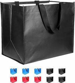 Large Reusable Grocery Bags 10 Pack Heavy Duty, Reinforced H
