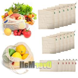 Lots Reusable Organic Cotton Mesh Grocery Shopping Produce B