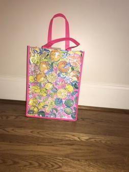 Lilly Pulitzer Market Bag Reusable Vinyl Shopping Bag NWOT