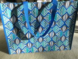 Vera Bradley Market Tote Reusable Bag Go Fish Blue Print New