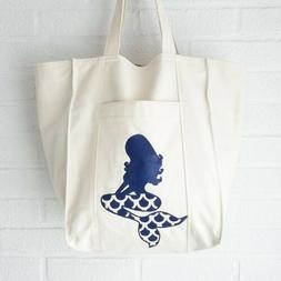 Mermaid Tote Bag Handmade Canvas Farmers Market Reusable Sus