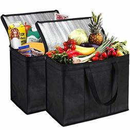 NZ Home XL Insulated Reusable Grocery Bags, Sturdy Zipper, F