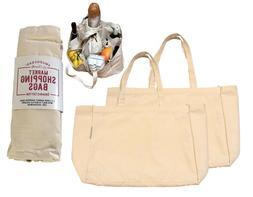 Organic Cotton Deluxe Reusable Grocery Market Shopping Bag