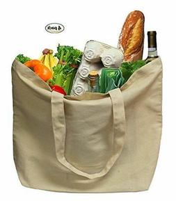 Earthwise Organic Cotton Reusable Grocery Shopping Bags LRG
