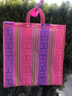 Pink Shopping Market Mexican Bag. Mesh Large Reusable Beach