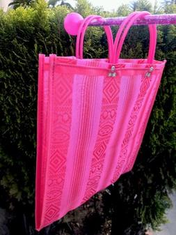 Pink Shopping Market Mexican Bag. Mesh Medium Reusable Beach