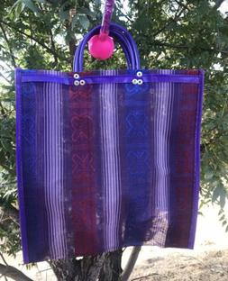 Purple Shopping Market Mexican Bag. Mesh Medium Reusable Bea